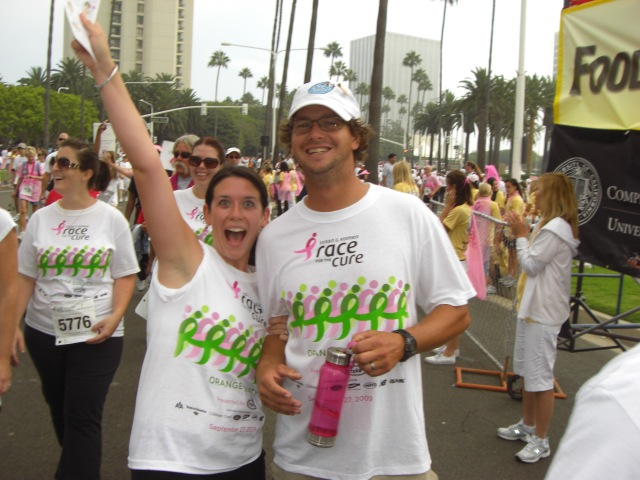 Mrs. Jennifer and Mr. Connor White celebrate the end of the Susan G. Komen Race for the Cure 5K. Oh yeah, the endorphins are flowing!