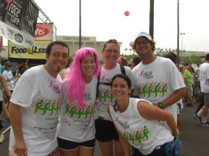 The Breast Team Ever in all their sweaty glory after running the Race for the Cure 5K (3.2 miles). The members are (from left to right): Adam Townsend (Mr. Man), Laura Lee Bloor Townsend, Kelly Hertzen (top), Jennifer White (bottom), and Connor White.