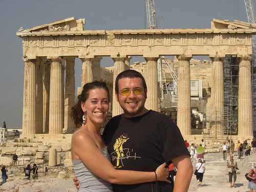 Me and Mr. Man in front of the Parthenon on the (Athenian) Acropolis in Athens, Greece.