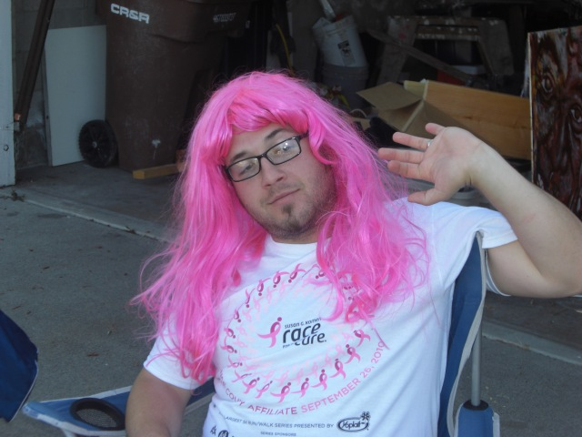 Mr. Man supporting the Race for the Cure to fight breast cancer